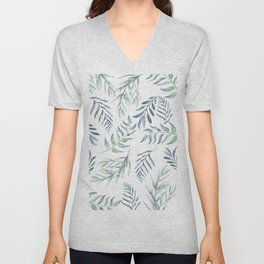 Floating Leaves Blue #society6 #buyart Unisex V-Neck