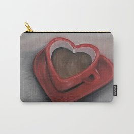 Heart-shaped coffee mug, oil painting by Luna Smith, LuArt Gallery, valentine's day, love, heart Carry-All Pouch