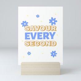 Savour Every Second Blue Flowers Dots Mini Art Print