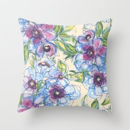 Big Blue Poppies Throw Pillow
