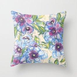 Big Blue Poppies Throw Pillow