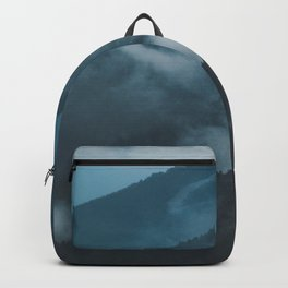 Layers of Mountain Valley Forest Fog Clouds Modern Landscape Backpack
