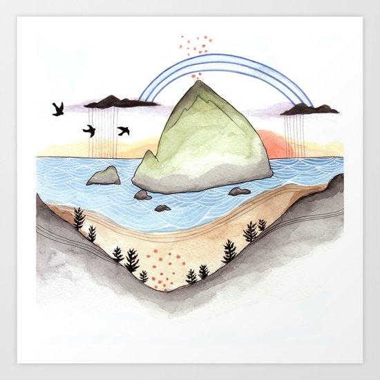 Haystack Rock Art Print