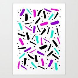Neon colored confetti design in pink, black, purple and cyan colors Art Print