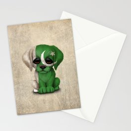 Cute Puppy Dog with flag of Pakistan Stationery Cards