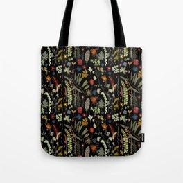 Dark Floral Sketchbook Tote Bag