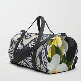 Traditional Hawaiian Tapa and Plumeria Duffle Bag