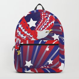 Blue red and white bald eagle with stars Backpack