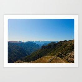 Mountain peaks and hills Art Print