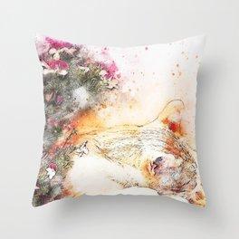 Cat sleeping art abstract Throw Pillow