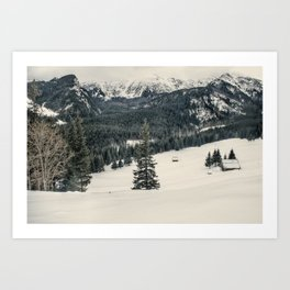 Mountains in the wintertime Art Print