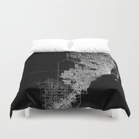 miami Duvet Covers featuring miami map by Line Line Lines