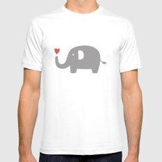 Elephants in love (white) White MEDIUM Mens Fitted Tee
