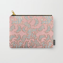 Beautiful Pink Grey and Rose Gold Floral Pattern Carry-All Pouch