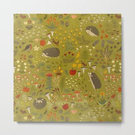 Hedgehog Meadow Metal Print