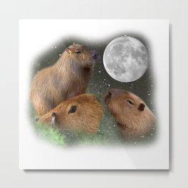 Three Moon Capybaras Metal Print