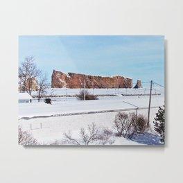 Perce Rock in the Snow Metal Print