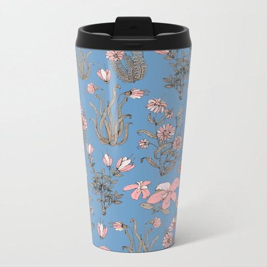 Flowers on Blue! Metal Travel Mug