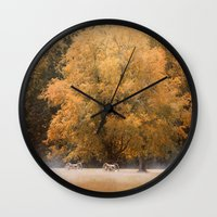 battlefield Wall Clocks featuring Morning on the Battlefield by Jai Johnson