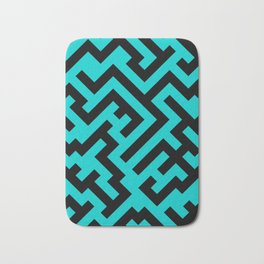 Black and Cyan Diagonal Labyrinth Bath Mat