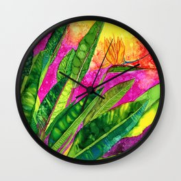 Bird of paradise flower Wall Clock