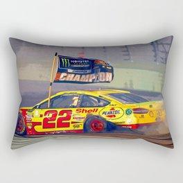 Joey Logano celebrating winning the 2018 championship. Rectangular Pillow
