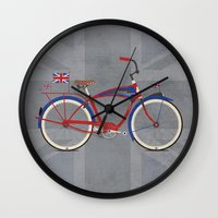 british flag Wall Clocks featuring British Bicycle by Wyatt Design