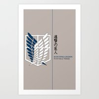 shingeki no kyojin Art Prints featuring Wings of Freedom (Shingeki no Kyojin) by DPain