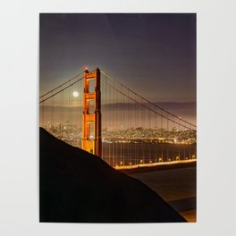 GOLDEN GATE BRIDGE & MOON PHOTO - SAN FRANCISCO NIGHT IMAGE - CALIFORNIA PICTURE - CITY PHOTOGRAPHY Poster