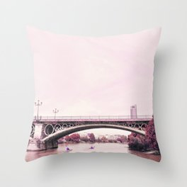 Pink mood at Triana Bridge Throw Pillow