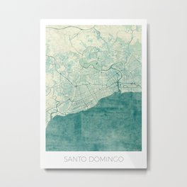 Santo Domingo Map Blue Vintage Metal Print