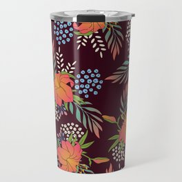 Red Floral Print Travel Mug