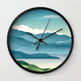 llustration background landscape nature mountains Wall Clock