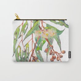 Watercolour eucalyptus tree branch with white flowers & gumnuts. Carry-All Pouch