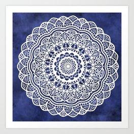 Deep Ocean Blue Mandala - LaurensColour Art Print