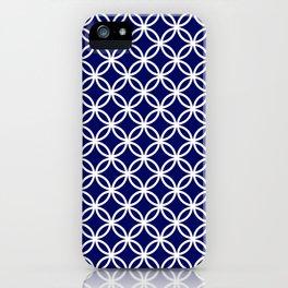 Dark blue and white interlocking circles iPhone Case