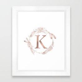 Letter K Rose Gold Pink Initial Monogram Framed Art Print