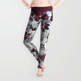 Boho burgundy white pastel marble floral pattern Leggings