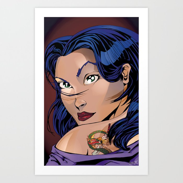 Tattoo Girl - Blue Art Print