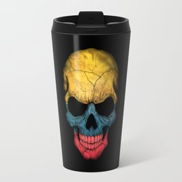 Dark Skull with Flag of Colombia Travel Mug