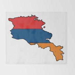Armenia Map with Armenian Flag Throw Blanket