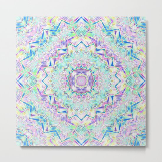 Gentle colors of the ornament . Turquoise -pink . Metal Print
