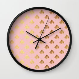 Royal gold ornaments on pink background Wall Clock
