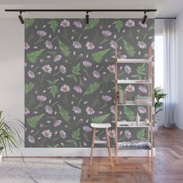 Cosmos & Fern in dim gray Wall Mural