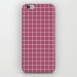 China rose - violet color - White Lines Grid Pattern iPhone Skin