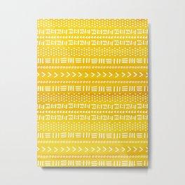 Yellow Boho Stripes Pattern Metal Print