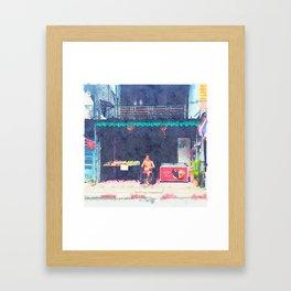 Man at the shop Framed Art Print