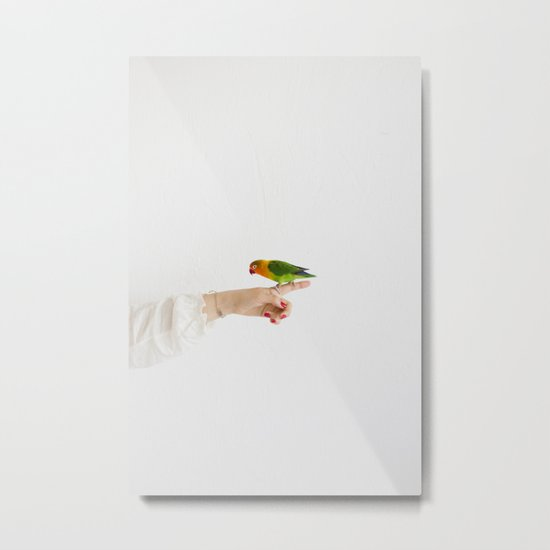 Woman and parrot Metal Print