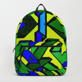 Green and blue graffiti - street art Backpack