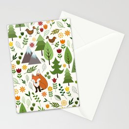 Scandinavian Style Illustrations on Cream Pattern Stationery Cards